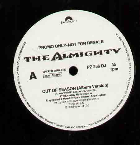 Almighty - Out Of Season ( 3 Track 12 Inch Promo Issue )