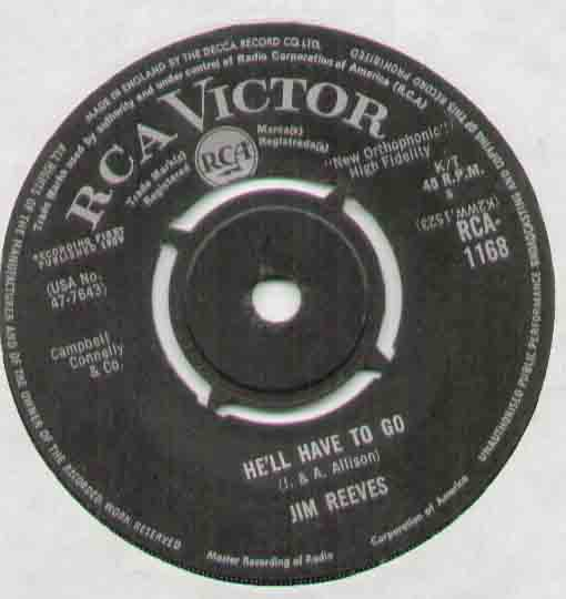 Jim Reeves He'll+Have+To+Go 7''