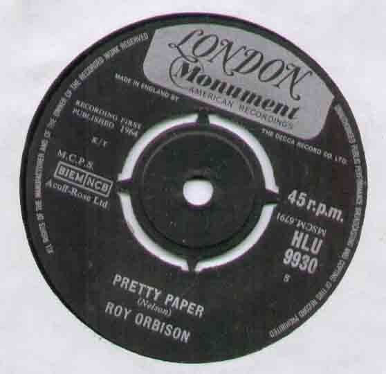 Roy Orbison Pretty+Paper 7''