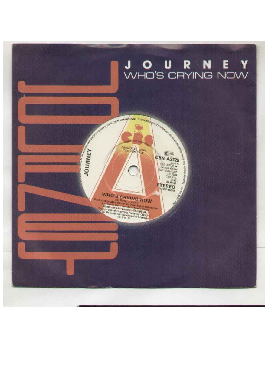 Journey - Who's Crying Now Single