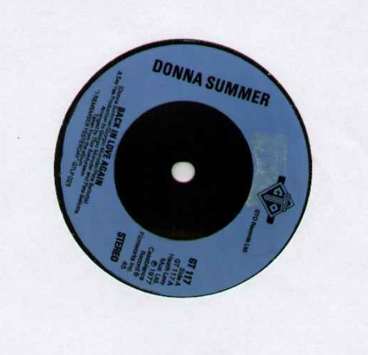 DONNA SUMMER - BACK IN LOVE AGAIN - 3 track ep 1977 ORIGINAL BLUE PLASTIC MOULDED LABEL ISSUE 3 track ep b/w try me - 45T (SP 2 titres)