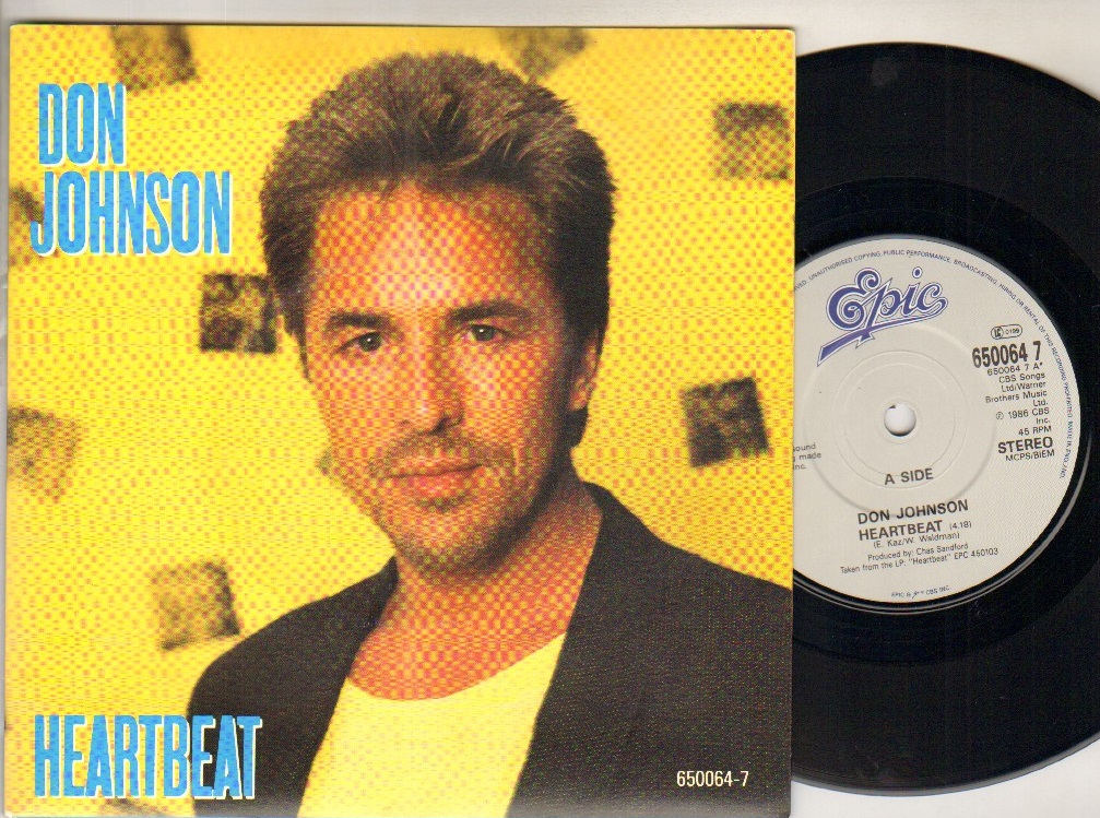 DON JOHNSON - HEARTBEAT - 45T (SP 2 titres)