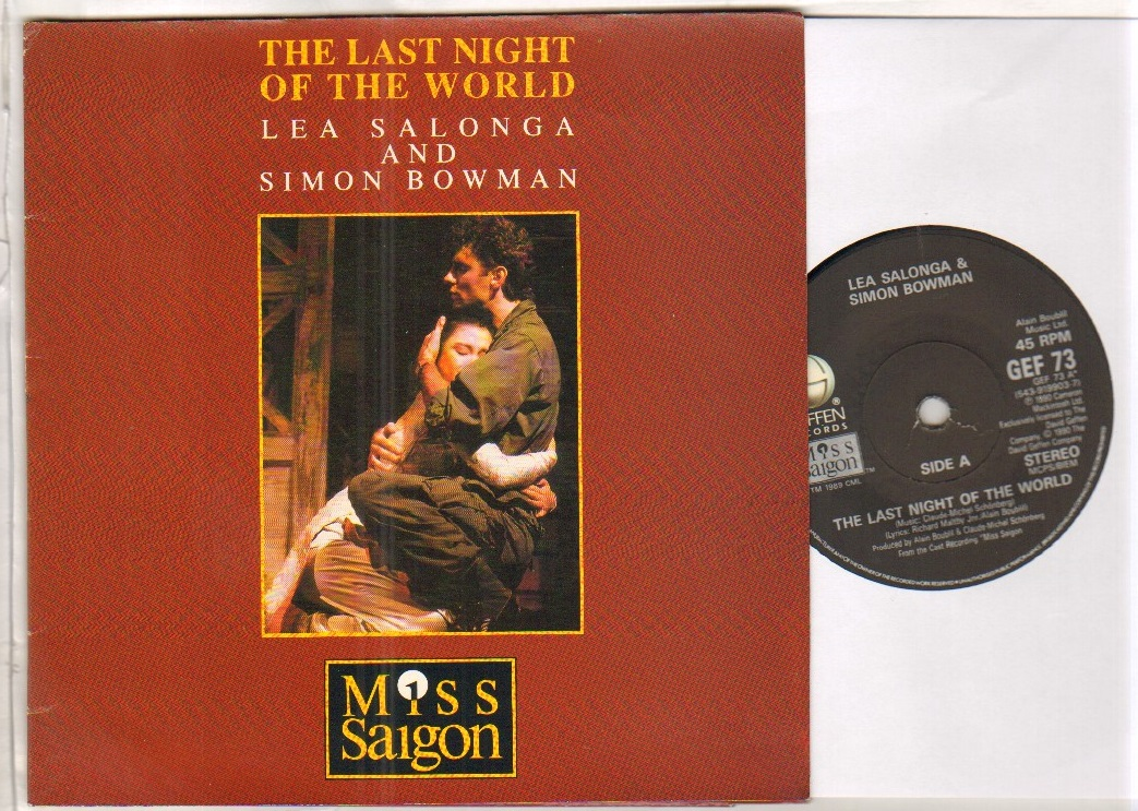 LEA SALONGA AND SIMON BOWMAN - LAST NIGHT OF THE WORLD - 45T (SP 2 titres)