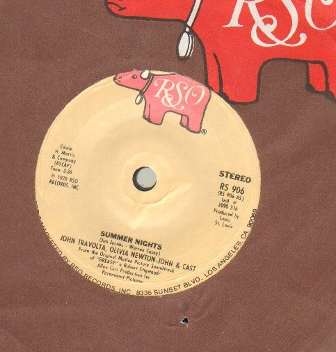 JOHN TRAVOLTA OLIVIA NEWTON JOHN - SUMMER NIGHTS - US pressing - 45T (SP 2 titres)