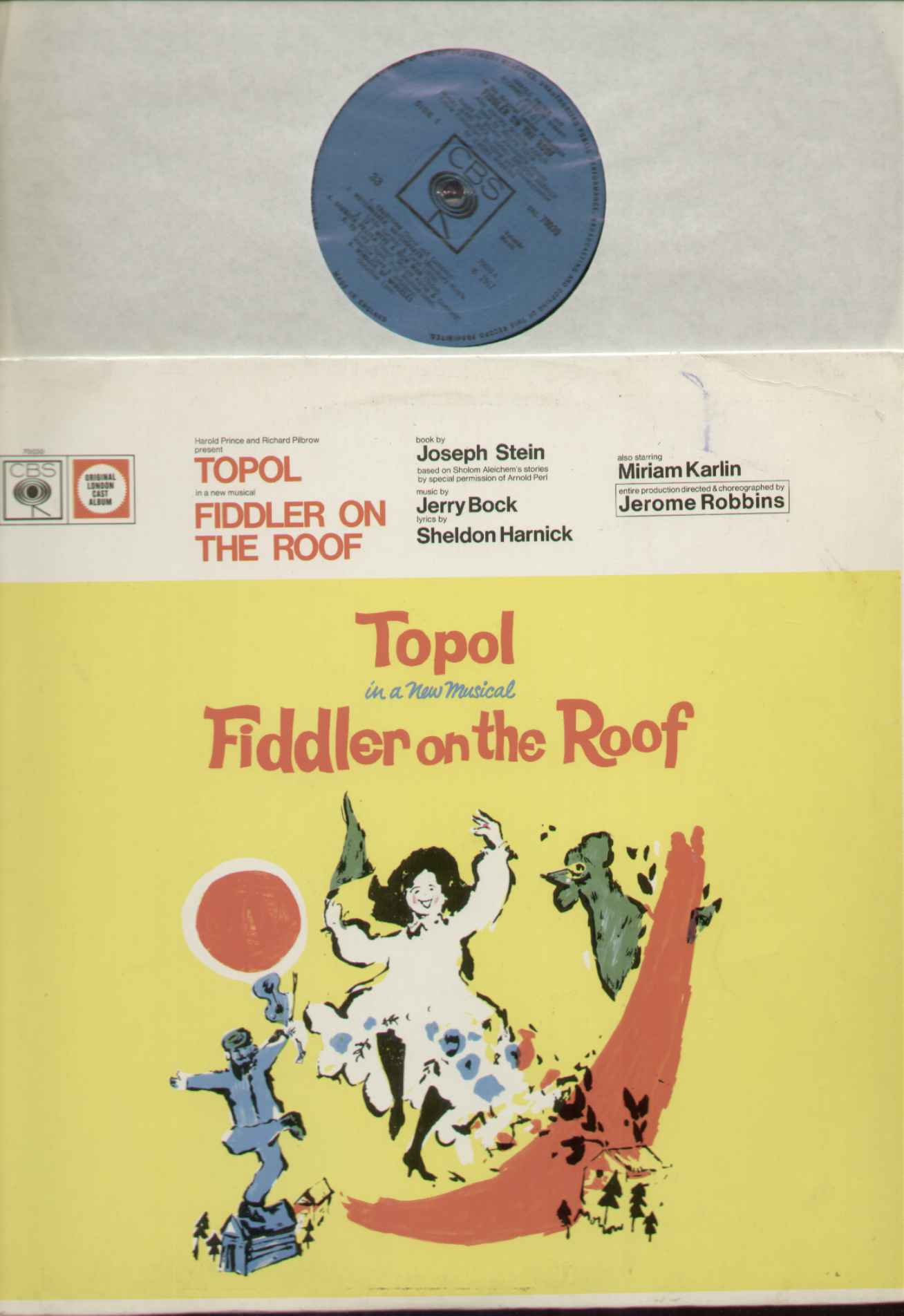 FIDDLER ON THE ROOF - Fiddler On The Roof 1967 ORIGINAL BLUE LABEL CBS 1960'S PRESSING 13 TRACK - EXCELLENT CONDITION - LP
